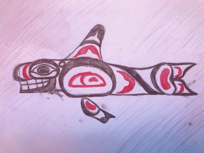 Native American Form Line Drawing Orca Whale