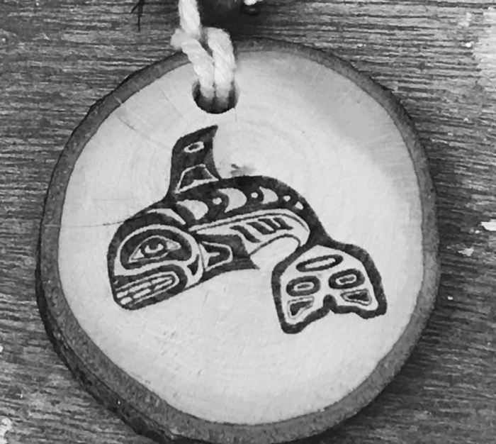Engraved Orca Whale on wood Native American art
